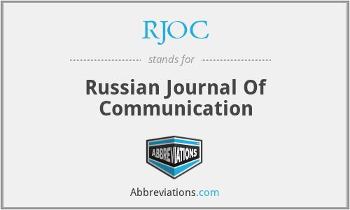 RJOC - Russian Journal Of Communication