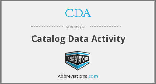 CDA - Catalog Data Activity
