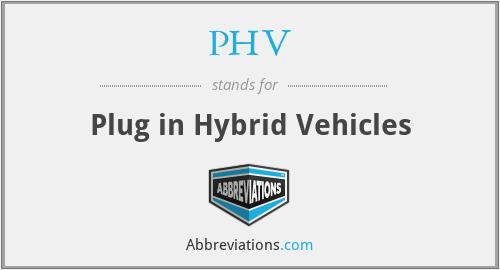 PHV - Plug in Hybrid Vehicles