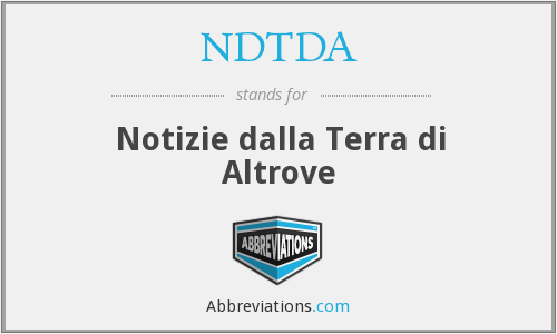 What does NDTDA stand for?