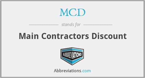 MCD - Main Contractors Discount