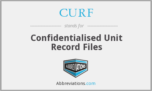 CURF - Confidentialised Unit Record Files
