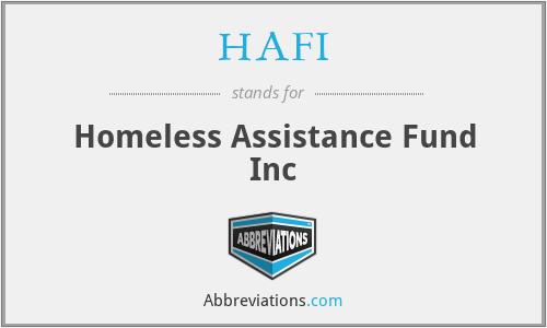 HAFI - Homeless Assistance Fund Inc