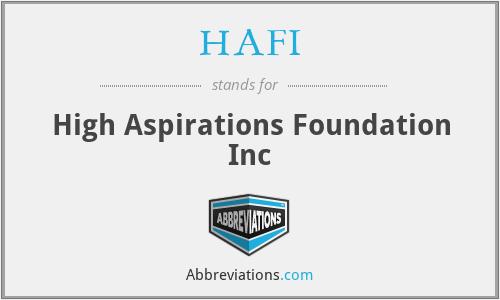 HAFI - High Aspirations Foundation Inc