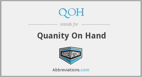 QOH - Quanity On Hand