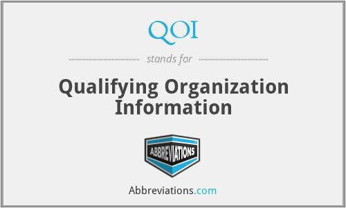 QOI - Qualifying Organization Information