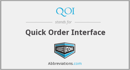 QOI - Quick Order Interface