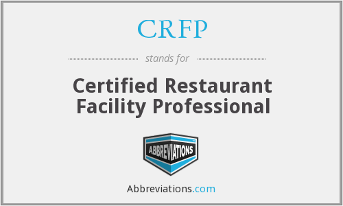 CRFP - Certified Restaurant Facility Professional