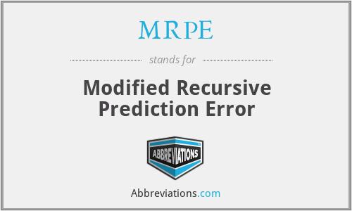MRPE - Modified Recursive Prediction Error