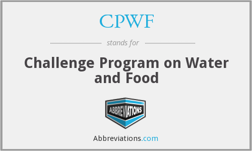 CPWF - Challenge Program on Water and Food