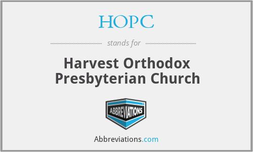 HOPC - Harvest Orthodox Presbyterian Church