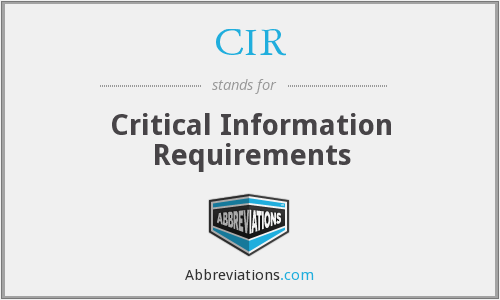 CIR - Critical Information Requirements