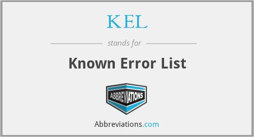 KEL - Known Error List