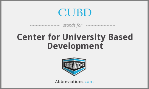 What does CUBD stand for?