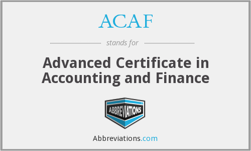 ACAF - Advanced Certificate in Accounting and Finance