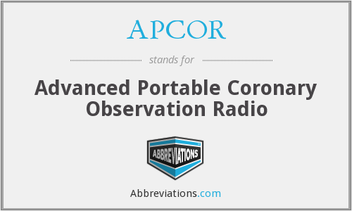 APCOR - Advanced Portable Coronary Observation Radio