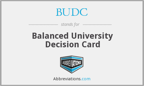 BUDC - Balanced University Decision Card