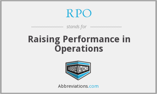 RPO - Raising Performance in Operations