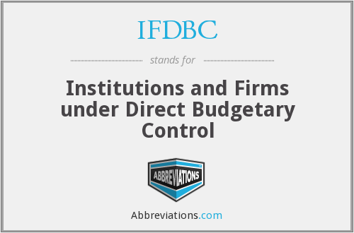 IFDBC - Institutions and Firms under Direct Budgetary Control