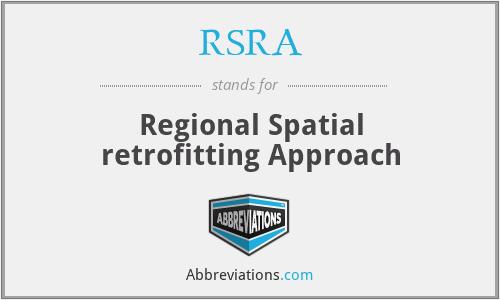 RSRA - Regional Spatial retrofitting Approach