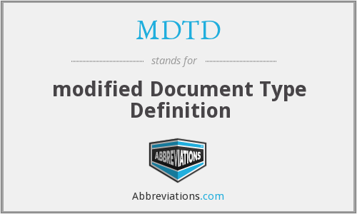 MDTD - modified Document Type Definition