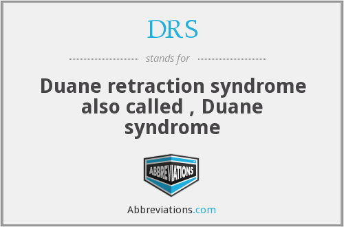 DRS - Duane retraction syndrome also called , Duane syndrome