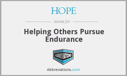 HOPE - Helping Others Pursue Endurance