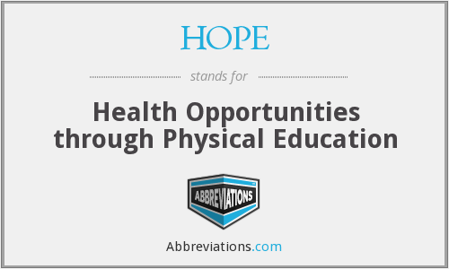 HOPE - Health Opportunities through Physical Education