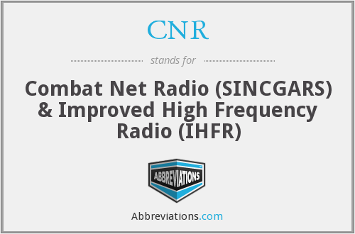 CNR - Combat Net Radio (SINCGARS) & Improved High Frequency Radio (IHFR)