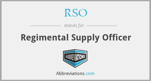 RSO - Regimental Supply Officer