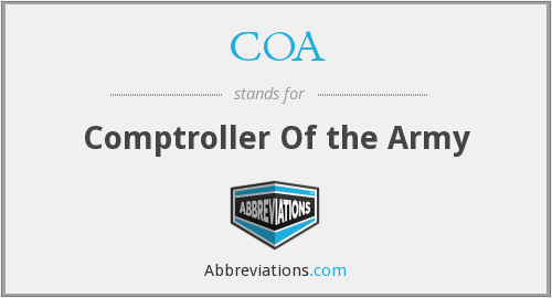 COA - Comptroller Of the Army