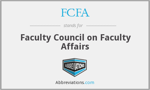 FCFA - Faculty Council on Faculty Affairs