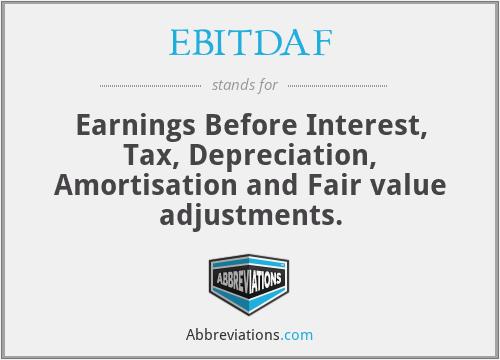 EBITDAF - Earnings Before Interest, Tax, Depreciation, Amortisation and Fair value adjustments.