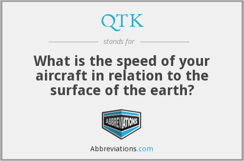 QTK - What is the speed of your aircraft in relation to the surface of the earth?