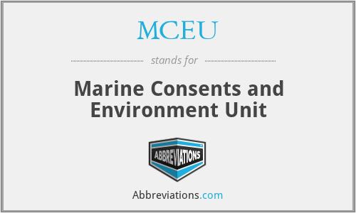 MCEU - Marine Consents and Environment Unit