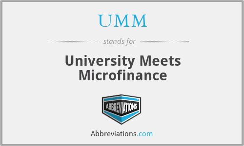 UMM - University Meets Microfinance