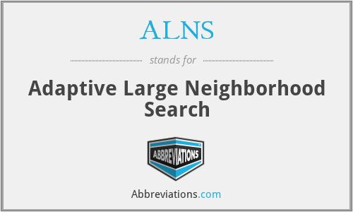 ALNS - Adaptive Large Neighborhood Search