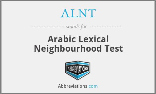ALNT - Arabic Lexical Neighbourhood Test