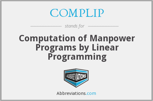 COMPLIP - Computation of Manpower Programs by Linear Programming