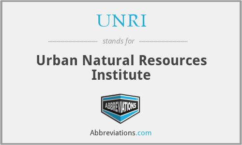 UNRI - Urban Natural Resources Institute