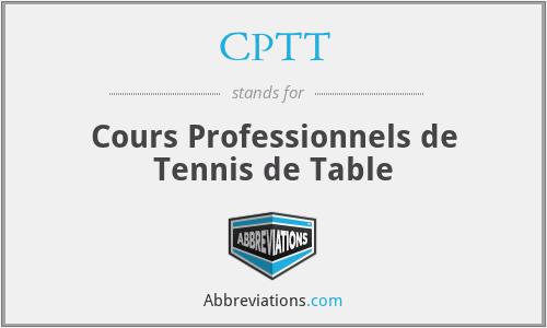 CPTT - Cours Professionnels de Tennis de Table