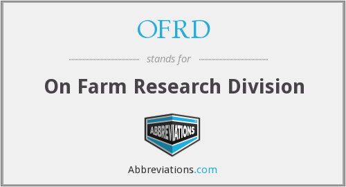 OFRD - On Farm Research Division