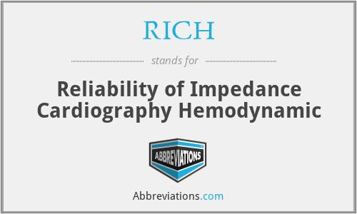 RICH - Reliability of Impedance Cardiography Hemodynamic