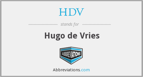 HDV - Hugo de Vries