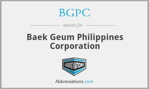 BGPC - Baek Geum Philippines Corporation