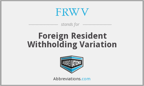What does FRWV stand for?