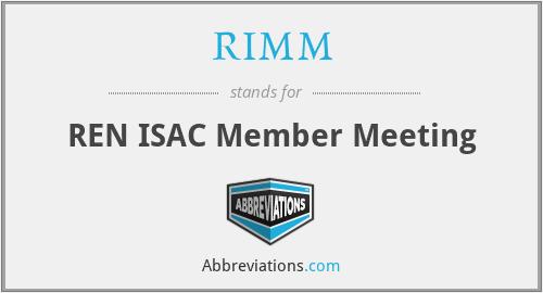 RIMM - REN ISAC Member Meeting