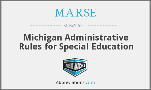 MARSE - Michigan Administrative Rules for Special Education