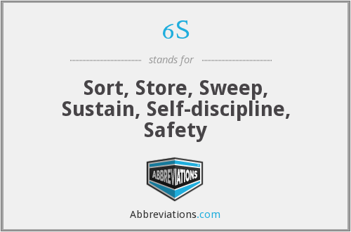 6S - Sort, Store, Sweep, Sustain, Self-discipline, Safety