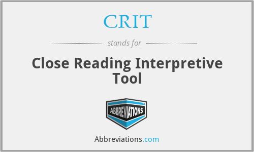 CRIT - Close Reading Interpretive Tool